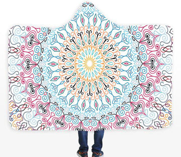 3D Flower Pattern 094 Hooded Blanket