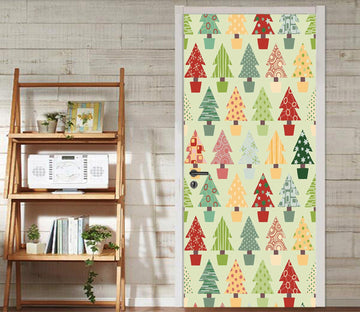 3D Christmas Xmas Lovely Trees 6 Door Mural Wallpaper AJ Wallpaper