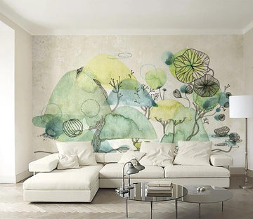 3D Lotus Leaf WC094 Wall Murals
