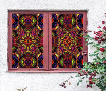 3D Red Art Pattern 191 Window Film Print Sticker Cling Stained Glass UV Block