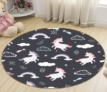 3D Cloud Rainbow Unicorn 64162 Round Non Slip Rug Mat