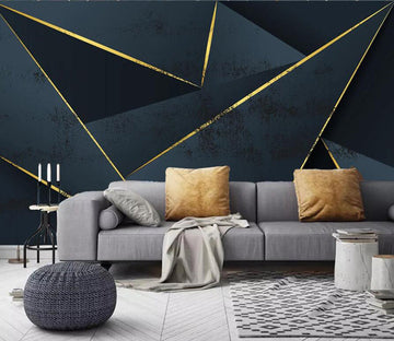 3D Golden Lines 1911 Wall Murals