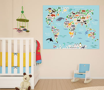 3D Animal Island 204 World Map Wall Sticker