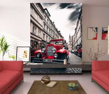 3D Red Classic Car 446 Vehicle Wall Murals