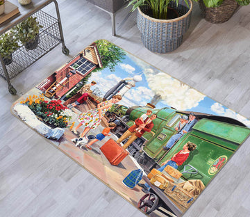 3D The Train Driver 1119 Trevor Mitchell Rug Non Slip Rug Mat