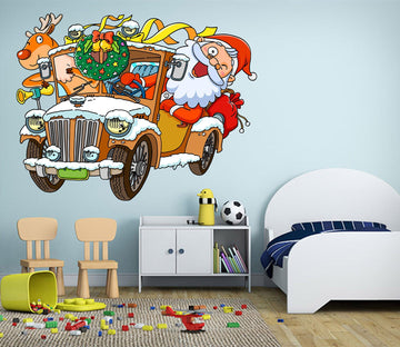 3D Luxury Car Santa Claus 22 Wall Stickers