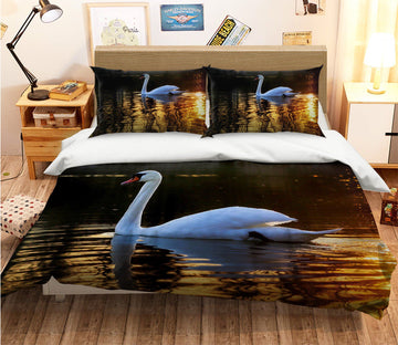 3D Swan Swimming 2000 Bed Pillowcases Quilt