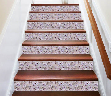 3D Idyllic Purple Flower 0595 Marble Tile Texture Stair Risers Wallpaper AJ Wallpaper