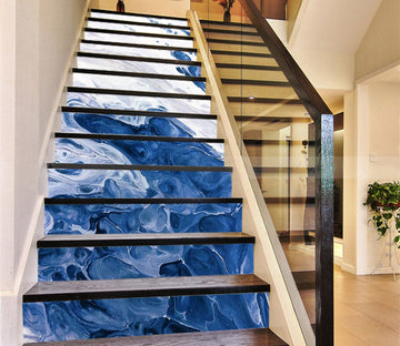 3D Blue Swirl 6130 Marble Tile Texture Stair Risers Wallpaper AJ Wallpaper