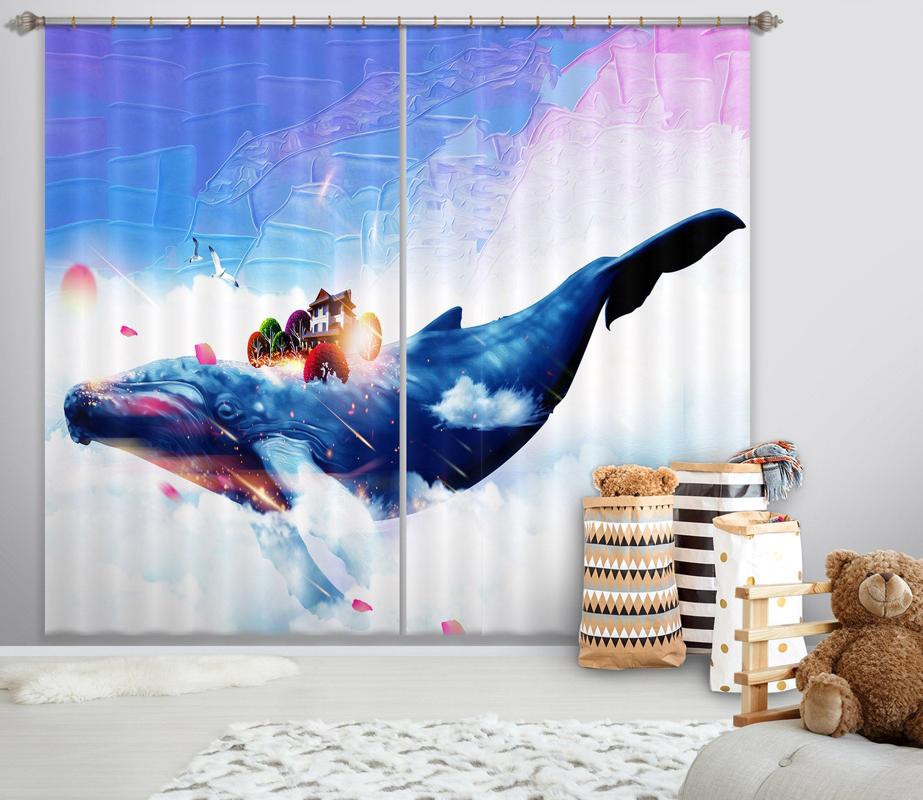 3D Blue Whale 729 Curtains Drapes