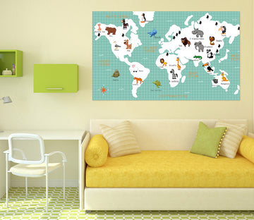 3D Animal Picture 114 World Map Wall Sticker