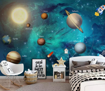 3D Planet Rocket WC397 Wall Murals