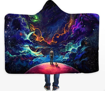 3D Color Nebula 261 Hooded Blanket