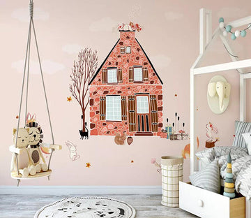 3D Pink House 1445 Wall Murals