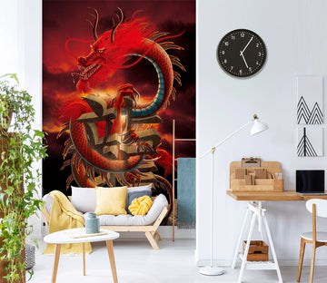 3D Red Dragon 1421 Wall Murals Exclusive Designer Vincent