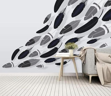 3D Black And White Feather 2065 Wall Murals
