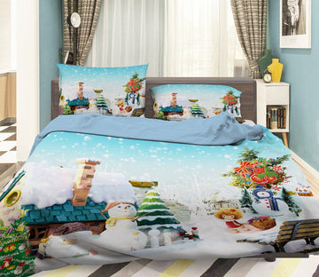 3D Christmas House Snow Tree 7 Bed Pillowcases Quilt