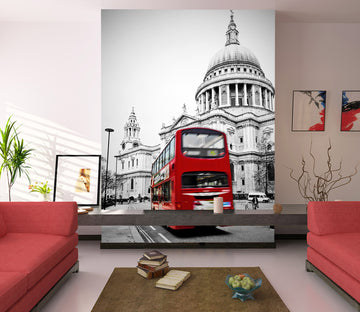 3D Castle Red Bus 435 Vehicle Wall Murals