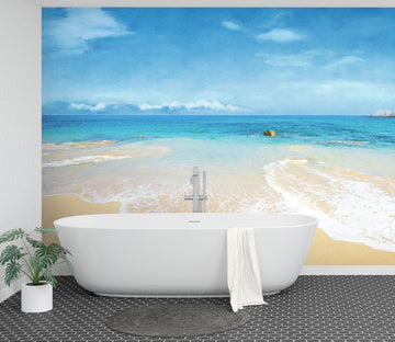 3D Watercolor Beach 101 Wall Murals