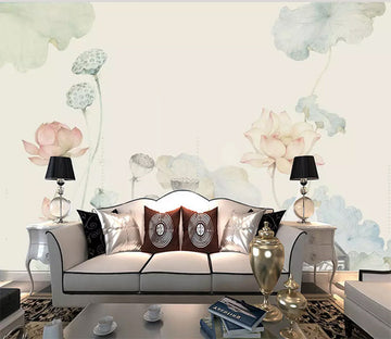 3D Lotus Pond 1202 Wall Murals