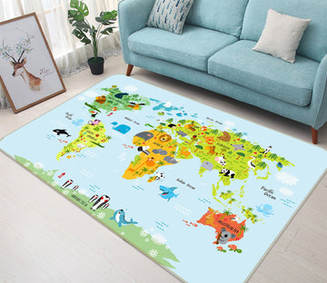 3D Colored Island 241 World Map Non Slip Rug Mat
