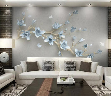 3D Blue Flowers WC203 Wall Murals