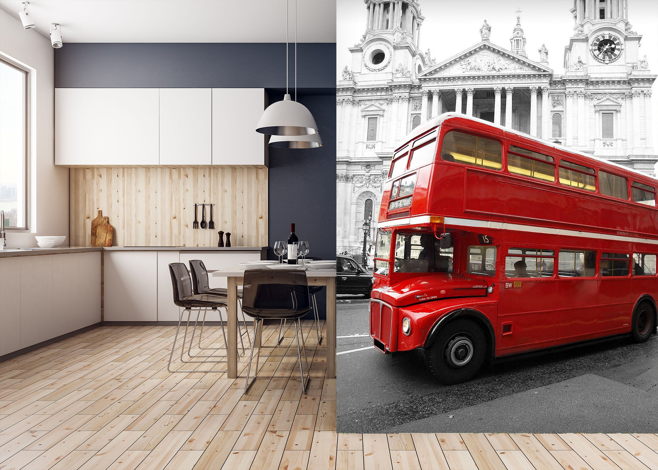 3D Double Decker Bus 443 Vehicle Wall Murals
