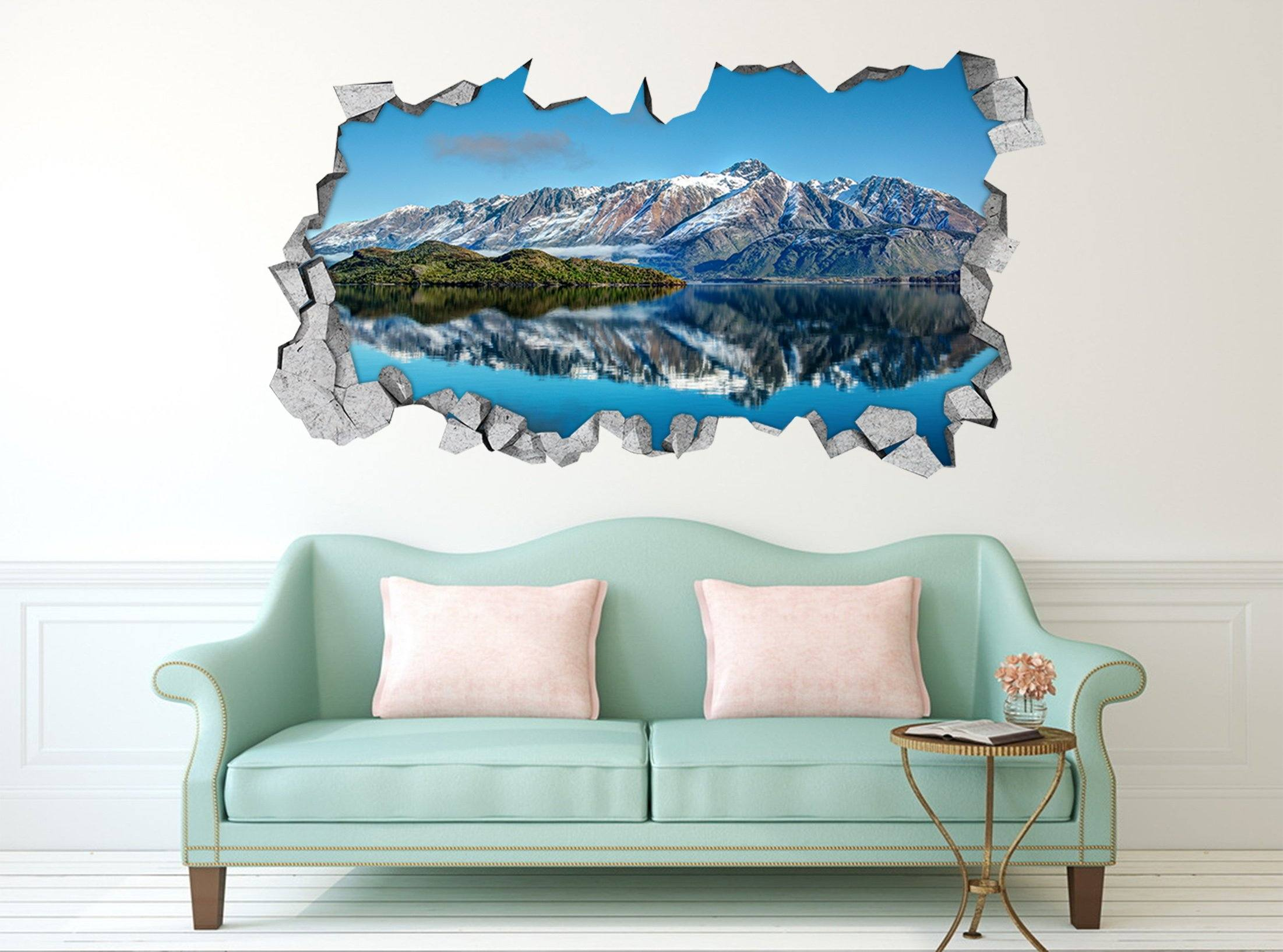 3D Blue Mountain Lake 310 Broken Wall Murals