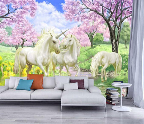 3D Mountain Forest Flower Beautiful Horse - AJ Walls - 1