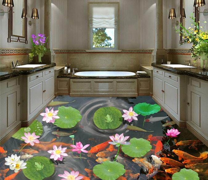 3D Lotus Goldfish Pond Floor Murals Wallpaper AJ Wallpapers