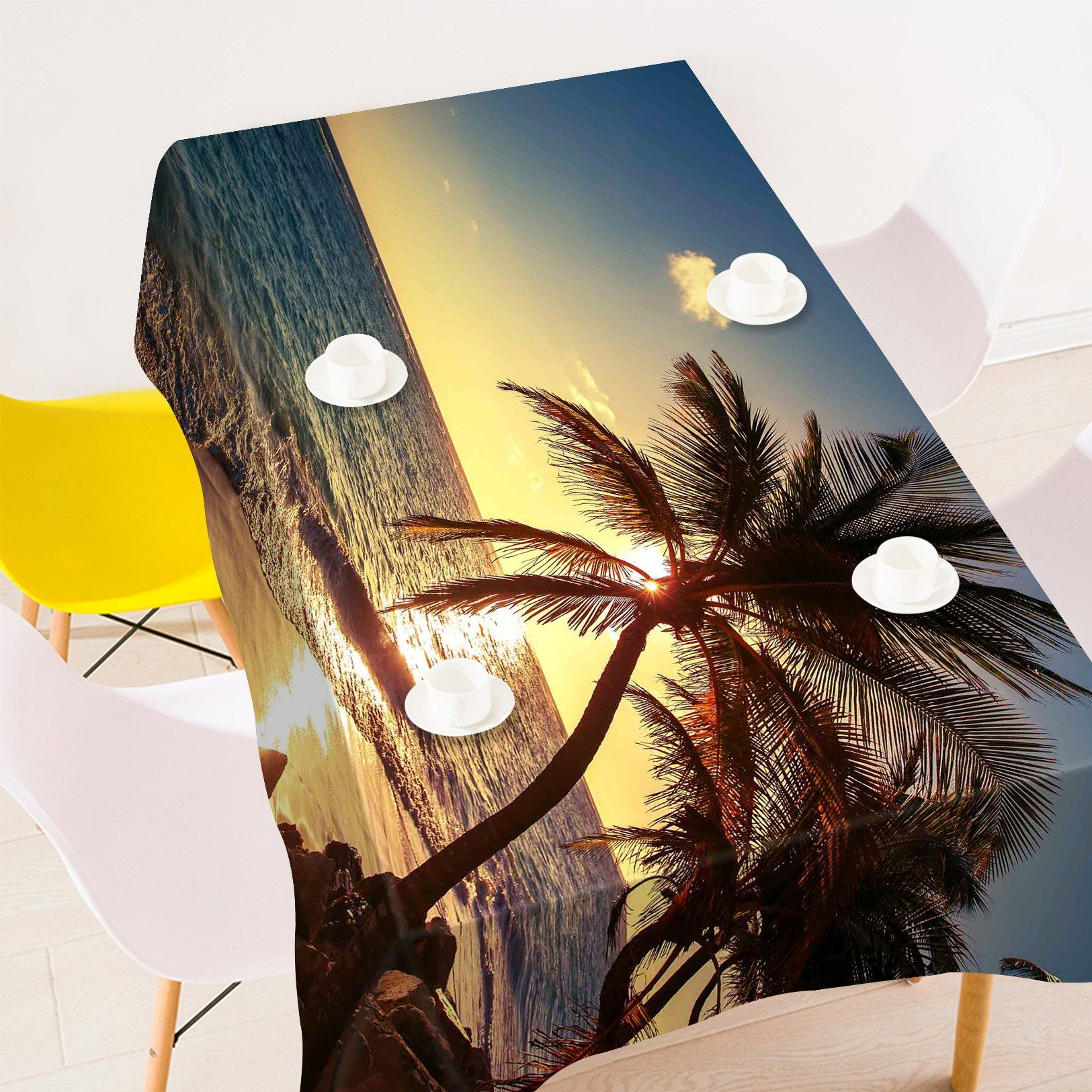 3D Beach Sunset 6 Tablecloths