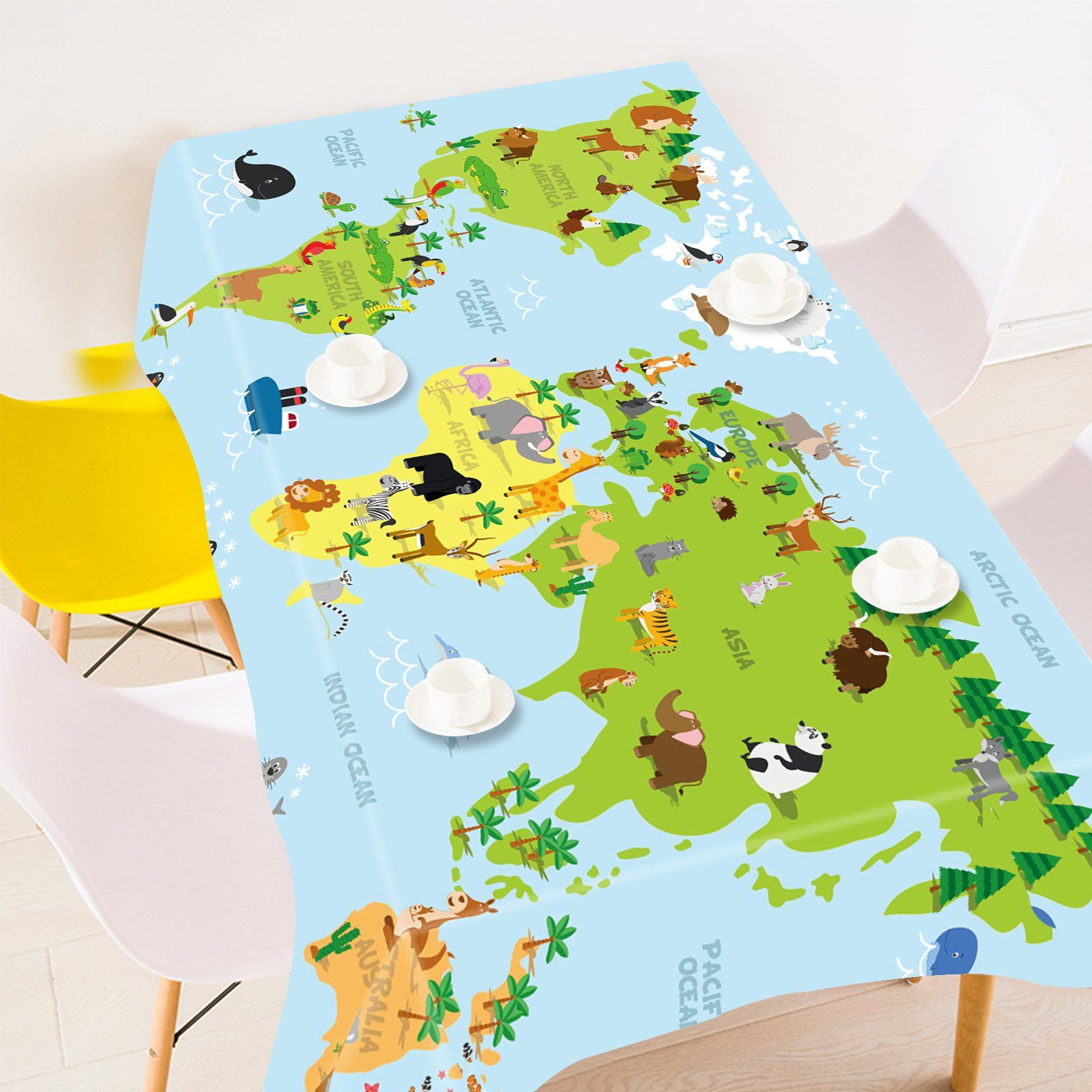 3D Animals World Map 759 Tablecloths