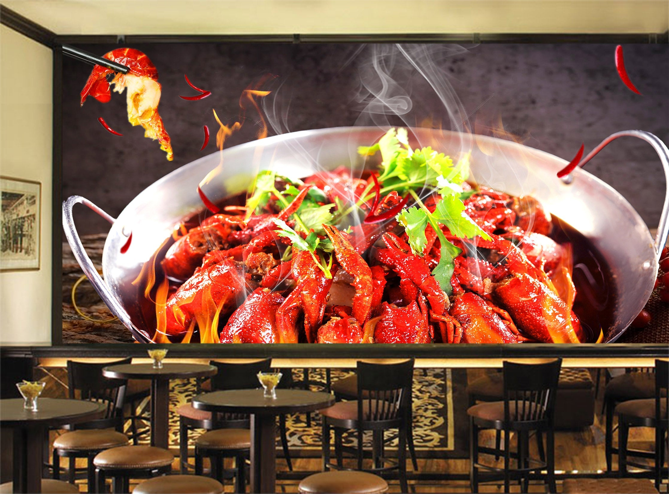 3D Spicy Lobster 050 Food Wall Murals