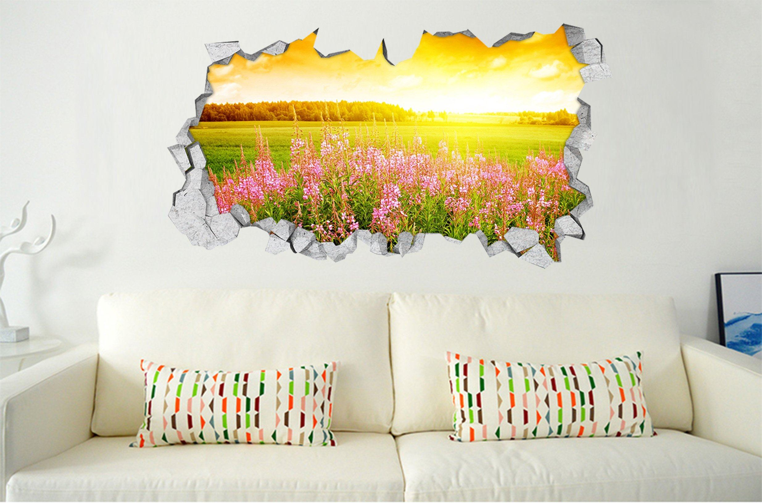 3D Grassland Flowers Sunshine 329 Broken Wall Murals