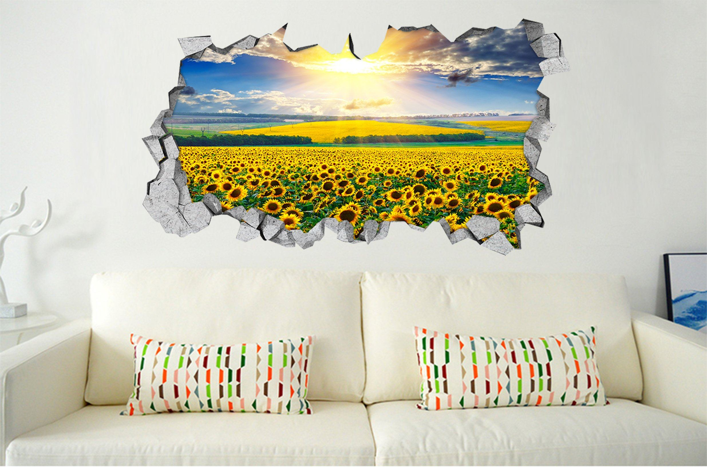 3D Sunflowers Field Sunshine 186 Broken Wall Murals Wallpaper AJ Wallpaper