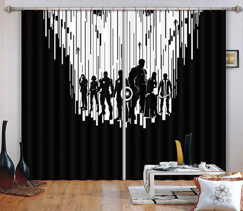 3D Characters Shadow 2479 Curtains Drapes