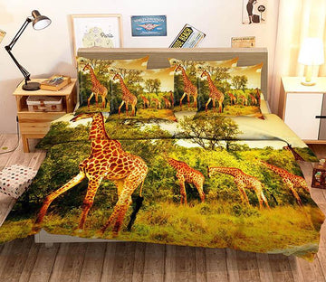 3D Tall Giraffes 89 Bed Pillowcases Quilt Wallpaper AJ Wallpaper