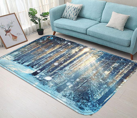 3D Forest Snowing Scenery 99 Non Slip Rug Mat
