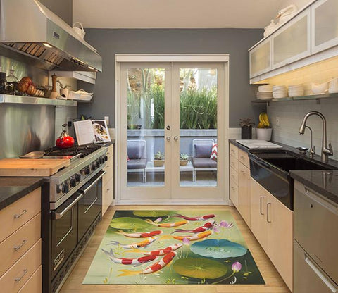 3D Swimming Fishes Kitchen Mat Floor Mural