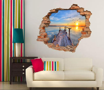 3D Sea Wooden Bridge Sunset 226 Broken Wall Murals