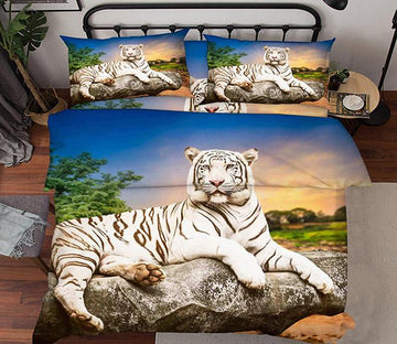 3D Stone Tiger 123 Bed Pillowcases Quilt