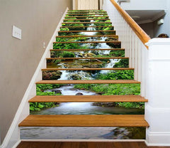 3D Creek Mosses Stones 1356 Stair Risers