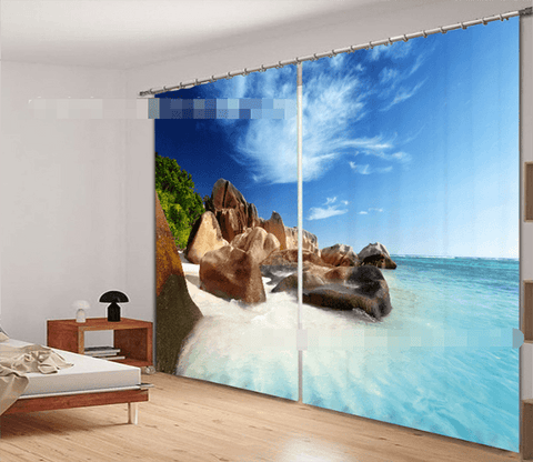 3D Stones Beach 2205 Curtains Drapes