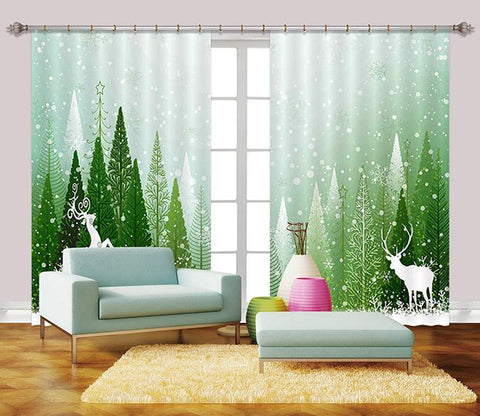 3D Snowing Forest Deer 2437 Curtains Drapes