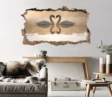 3D Lake Lovely Swans 122 Broken Wall Murals Wallpaper AJ Wallpaper