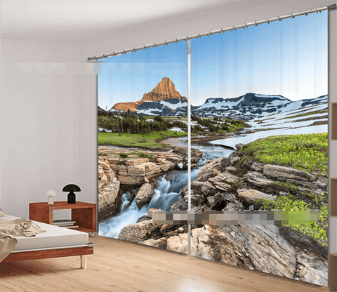 3D Snow Mountain River 2192 Curtains Drapes