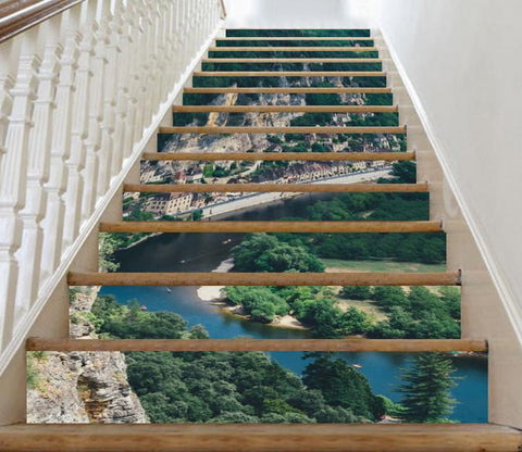 3D Mountains Town 398 Stair Risers