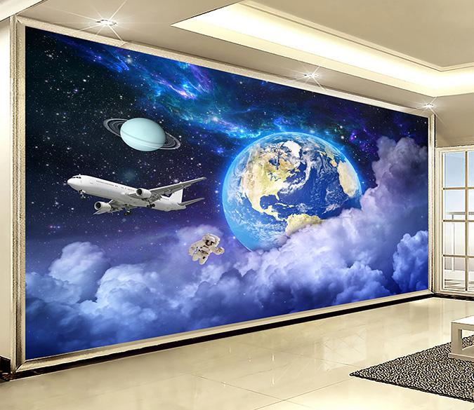3D Earth Airplane Cloud 310 Wallpaper AJ Wallpaper