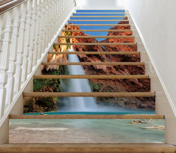 3D Beach Waterfall 45 Stair Risers Wallpaper AJ Wallpaper