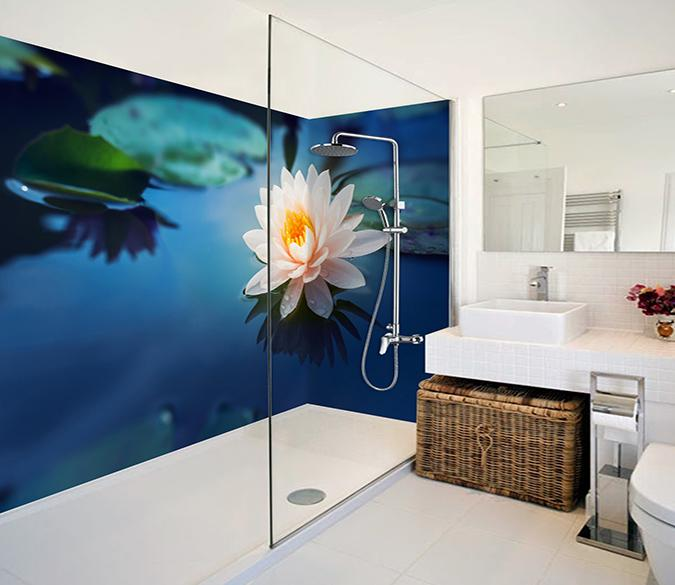 3D Beautiful Lake Flower 55 Bathroom Wallpaper